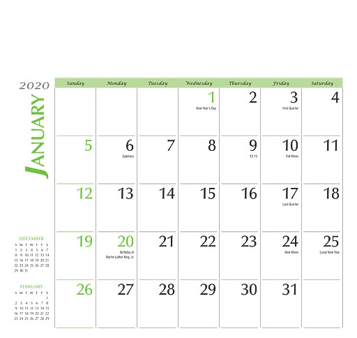 U46 Calendar.Custom Promotional Calendars U200 Custom Calendars Grids